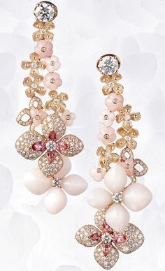 Earrings in pink gold, angel-skin and pink opal, pink tourmalines, diamonds, set with two brilliant-cut diamonds