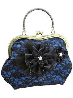 blue and black handbag formal or vintage style by FashionForWomen