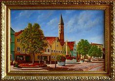 Dingolfing, Rynek,  52cm x 80cm,  Obraz olejny na płótnie