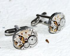 LONGINES Men Steampunk Cufflinks - Made with Genuine Longines watch movements. By TimeInFantasy, $85.00