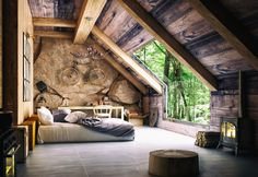 Dreamy bedrooms to help you relax and get a good night's sleep after a long day! Inspiration by Magpie Wedding Rustic Home Design, Dream Home Design, Tiny House Design, My Dream Home, Home Interior Design, Tiny House Cabin, Cabin Homes, Log Homes, A Frame House