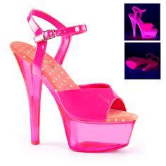 509d1f9df73 Pleaser Neon Hot Pink Ankle Strap Sandals With Neon Transparent Hot Pink  Platform