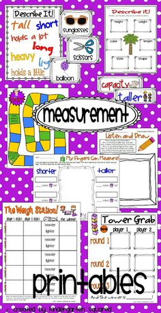 This unit is FULLY aligned with Common Core Kindergarten Math Standards in Unit 5: Measuring and Analyzing Data. It includes standards to post, vocabulary cards and ideas for use, lesson plan ideas, learning games, student recording forms, assessments, stations, plus a great deal more. $