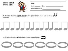 Music Assessment Worksheet to help students draw Eighth Notes and Whole Notes. This is great for Teachers and Substitutes as well as Home School Students. Music Education Activities, Teaching Resources, Music Worksheets, Student Drawing, Music For Kids, Teaching Music, Home Schooling, Music Lessons, Music Notes