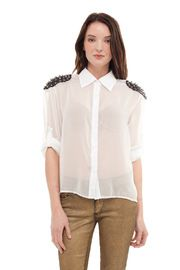 Sheer Studded Button Down