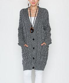 Another great find on #zulily! Dark Gray Mohair-Blend Button-Front Cardigan #zulilyfinds