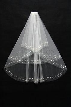 Perlen Zwei Schichten Ellbogenlange Schleier klassische mit Wellenkante