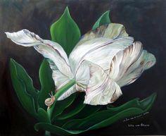 """oil painting by Lily van Bienen after Van Huysum""""s """"Stil life with flowers, 1723 van Huysum's tulip dressed in leaves"""