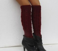 Knit Boot Cuff Wool Chunky Legwarmers Maroon Color Long by Sizana