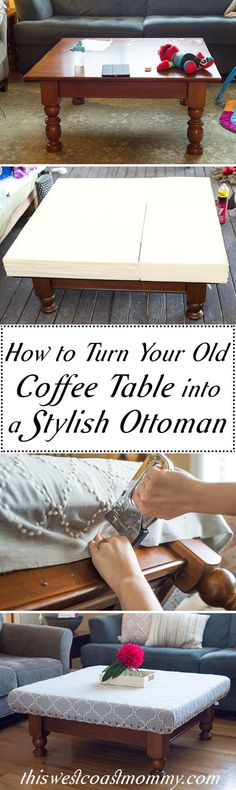 This step-by-step photo tutorial will show you how to turn your old, beat up coffee table into a gorgeous new ottoman! #oldottomanmakeover #ottomanmakeovertutorials