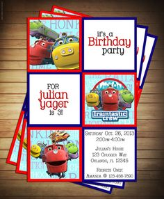 Disney Junior Chuggington Train Birthday Party Invitation