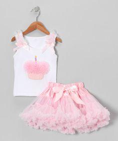 Love this Pink Rosette Cupcake Tank & Pettiskirt - Infant, Toddler & Girls on #zulily! #zulilyfinds