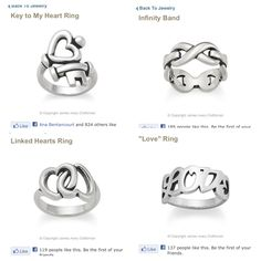 "James Avery rings. ❤❤❤❤    Key to my heart Infinity band Linked hearts ""Love"""