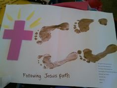 Following God's path in this season of lent. Did this activity with preschool children. Faith Crafts, Bible Crafts For Kids, Preschool Bible, Holiday Crafts For Kids, Easter Crafts, Preschool Activities, Preschool Projects, Sunday School Lessons, Sunday School Crafts