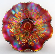 Good Luck by Northwood Lavender Carnival Glass 8 Ruffle 9 Bowl Ribbed Ext My Glass, Glass Art, Rainbow Glass, Cobalt Glass, Antique Glassware, Glass Photo, Vintage Carnival, Fenton Glass, Carnival Glass