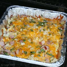 BBQ Breakfast Scrambler recipe, easy and delicious one-pan meal made on the barbecue or on the campfire. Camping recipe, BBQ - just cook outdoors!