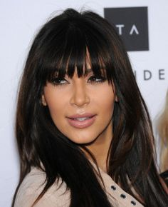 Kim Kardashian linda de franja! #cabelos #liso #corte #tendencia