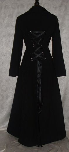 Long Coat  black Fit n Flare  Full Length  Gothic  Steampunk  Matrix  Duster coat  Corset Coat size UK 12-14 USA 10-12. $153.00, via Etsy.