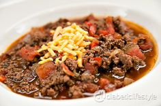 3-alarm chili for people with type 1 diabetes or type 2 diabetes. Delicious, easy, and spicy! All recipes from DiabeticLifestyle recipes include full nutritional and diabetic exchange information to help you make healthy food choices.