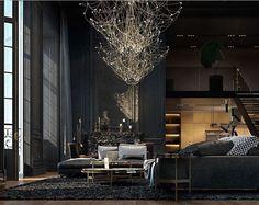 einrichtung-schwarz-gold-wohnzimmer-kronleuchter   Carpintería ...