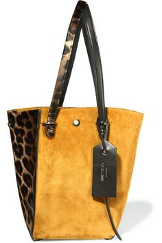 Mustard suede (Lamb), leopard-print calf hair, black leather Snap fastening at open top Comes with dust bag Weighs approximately 3.5lbs/ 1.6kg   Made in Italy