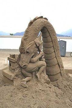 A Stunning Gallery of Science Fiction and Fantasy Themed Sand Sculptures Snow Sculptures, Sculpture Art, Paper Sculptures, Ice Art, Snow Art, Grain Of Sand, Fantasy, Art Plastique, Art And Architecture