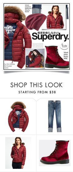 """""""The Cover Up – Jackets by Superdry: Contest Entry"""" by ewa-naukowicz-wojcik ❤ liked on Polyvore featuring Fuji, Superdry, Current/Elliott and Converse"""