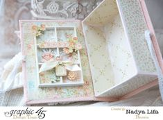 Oh, how glorious! Supply List  Graphic 45  Baby 2 Bride Deluxe Collector's Edition Graphic 45  Precious Memories  Cherish Graphic 45  Precious Memories  Sugar and Spice Graphic 45 Staples  Book Box Spellbinders Die Fabric Flower Ribbon Lace Acrilyc paint Wooden Shadowbox