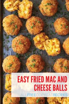 """Fried Mac and Cheese Balls--""""A comfort classic that everyone will be fighting for!"""" Fruit Recipes, Summer Recipes, Delicious Recipes, Appetizer Recipes, Sweet Recipes, Yummy Food, Fried Mac And Cheese, Macaroni And Cheese, Mac And Cheese Balls Recipe"""