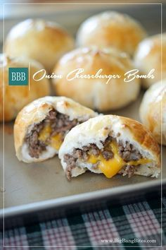 A biscuit meat bomb filled with an onion burger blend bursting with melted cheddar. Grand Biscuit Recipes, Pillsbury Biscuit Recipes, Recipes With Grands Biscuits, Onion Burger, Burger Meat, Meat Appetizers, Appetizer Recipes, Burger Bombs Recipes, Bombe Recipe