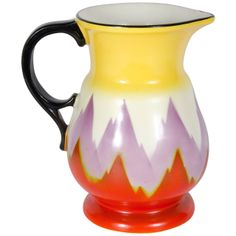 Art Deco Hand-painted Ditmar Urbach Pitcher from Czechoslovakia | From a unique collection of antique and modern pitchers at http://www.1stdibs.com/furniture/dining-entertaining/pitchers/