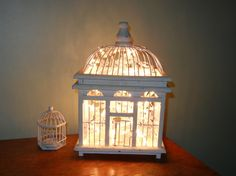 bird cage lamp with mini white lights inside