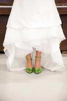 Bright green satin bridal shoes - love those (via Wedding CheeseCake | A Very Scrumptious Wedding Blog)