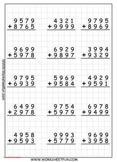 4 Digit Addition With Regrouping – Carrying – 9 Worksheets / FREE Printable Worksheets – Worksheetfun Printable Multiplication Worksheets, Math Division Worksheets, Addition And Subtraction Worksheets, 4th Grade Math Worksheets, Math Subtraction, Reading Worksheets, Alphabet Worksheets, Worksheets For Kids, Montessori Math