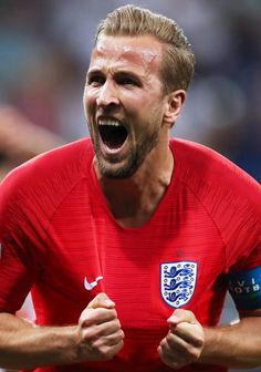 England's Harry Kane celebrates scoring in the 2018 FIFA World Cup First Stage Group G football match against Tunisia at Volgograd Arena Sergei. England Football Players, England National Football Team, England Players, England Fans, National Football Teams, Football Icon, World Football, Football Memes, Soccer World