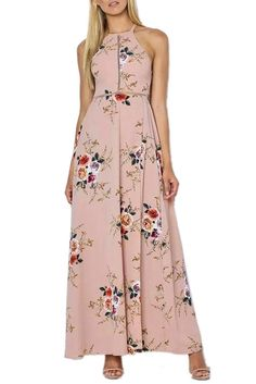 Chicloth Apricot Floral Cutout Back Halter Split Maxi Boho Dress