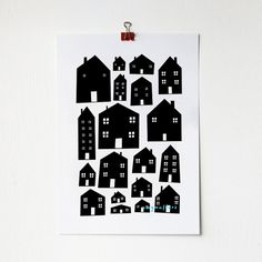 A4 Monotone Scandi Houses Print by amyawalters on Etsy