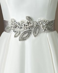 Justin Alexander wedding accessories style Regal satin bias self tie belt with flower and leaf motif in pearls and crystal. Wedding Belts, Wedding Sash, Bridal Sash, Bridal Dresses, Wedding Gowns, Sophisticated Wedding Dresses, Sophisticated Bride, Justin Alexander Bridal, Wedding Dressses