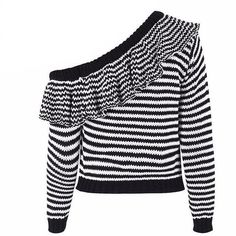 Layla Long Sleeve Striped Cold Shoulder Sweater - Bijou Blossoms