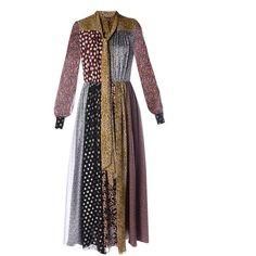 SAINT LAURENT Patchwork-print chiffon dress ($5,350) ❤ liked on Polyvore featuring dresses, black multi, floral print dress, blouson dress, boho floral dress, boho dresses and floral dresses
