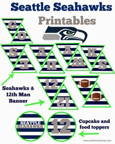 Go Seahawks Printable Banner and Food Toppers #superbowlparty #seattleseahawks #printables