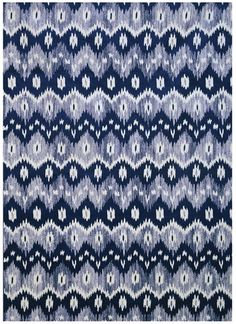 Navy Blue and White Ikat Pattern Area Rug Nautical Furniture, Coastal Furniture, Navy And White Living Room, Blue And White, Navy Blue, Navy Bedrooms, Ikat Pattern, Home Rugs, White Area Rug