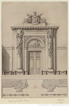 #LEDOUX [Plan et élévation de la porte de l'Hôtel d'Uzès] : [dessin] Source: BnF-Gallica - a un hôtel particulier for Paris