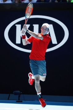Kei Nishikori of Japan in his first round match against Andrey Kuznetsov of Russia on day one of the 2017 Australian Open at Melbourne Park on January 16, 2017 in Melbourne, Australia.
