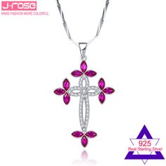Jrose 10CT Laboratory Created Ruby Whtie CZ Cross Solid 925 Sterling Silver Pendant Gift with Box Fashion Jewelry Without Chain