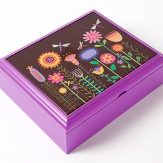Whimsy Flower Field Stationery w/ Wooden Gift Box, Designer Linda Solovic for Papyrus