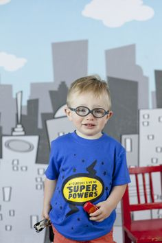 My glasses give me super powers shirt and cape by eye power kids wear.