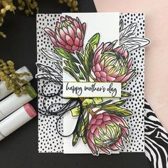 This set includes nine photopolymer stamps that coordinate with the Protea Flowers die set (sold separately) Hero Arts Cards, Protea Flower, Large Flowers, Homemade Cards, Homemade Stamps, Flower Cards, Clear Stamps, Biodegradable Products, Making Ideas