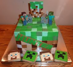 Mine Craft Cake and Cookies