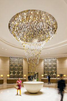 JW Marriott Mumbai Sahar by Lasvit Luxury Chandelier, Chandelier Lighting, Chandeliers, Lounge Lighting, Lighting Design, Fritz Cola, Ceiling Lamp, Ceiling Lights, Hotel Lobby Design